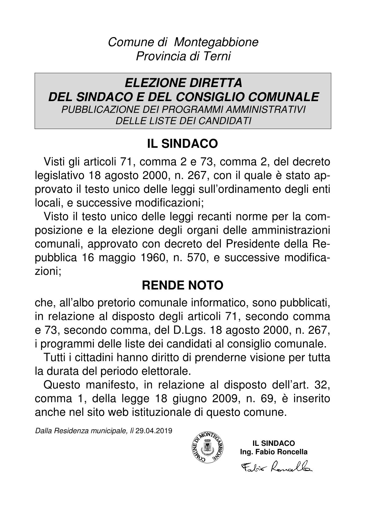 programmi delle liste dei candidati al consiglio comunale